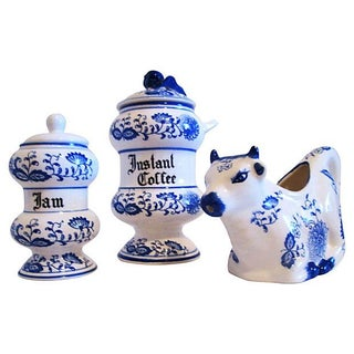 Vintage Delft Blue Breakfast Set - 3 Pieces