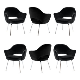 Saarinen Executive Armchairs in Black Velvet, Set of Six