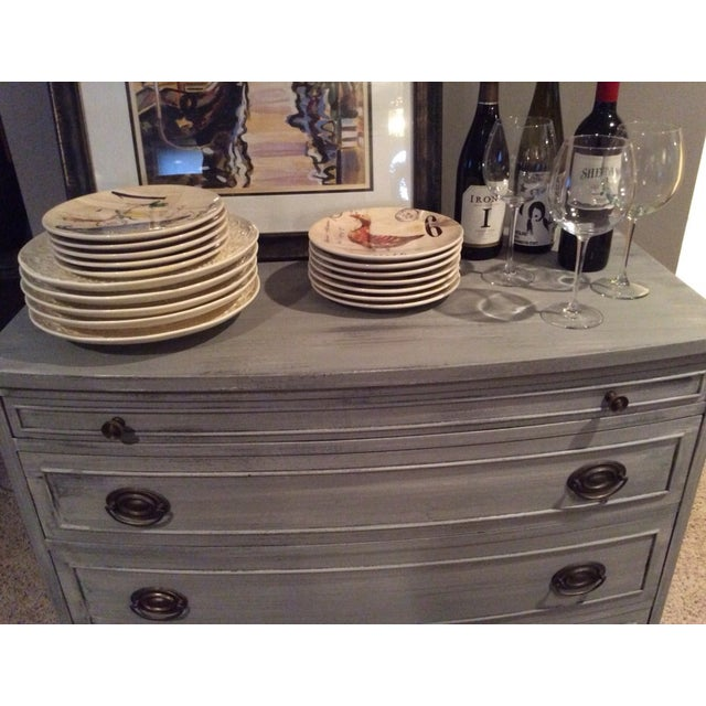 Distressed Grey Bowfront Federal Style Chest - Image 5 of 9