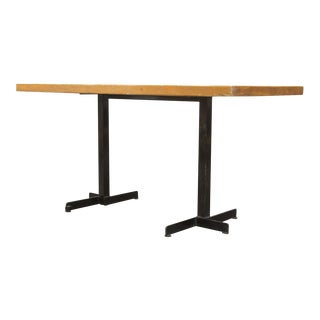 Pine and Black Metal Frame Charlotte Perriand Table for Les Arcs