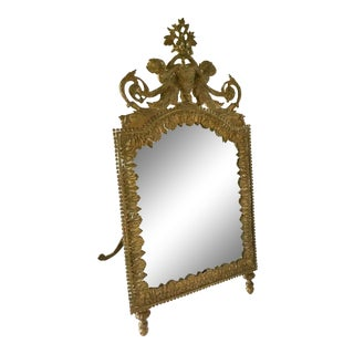 Antique Brass Cherub Table Top Easel Back Mirror