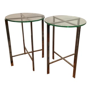HD Buttercup Chrome & Glass Side Table - A Pair