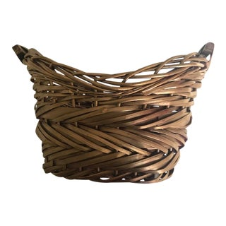 Two-Handled Gold Woven Basket