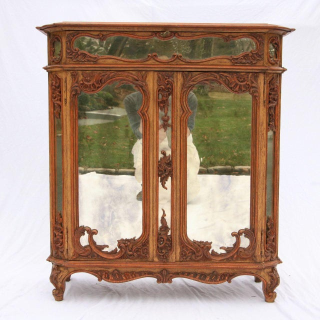 Image of Louis XV Mirrored & Carved Oak Cabinet