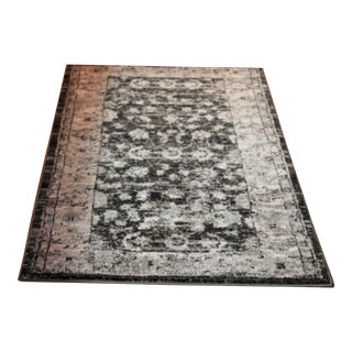 Transitional Distressed Vintage Turkish Gray & Black Runner - 2'8''x 5'