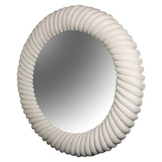 Hollywood Regency White Round Mirror
