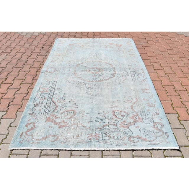 Vintage Oushak Sky Blue Distressed Handwoven Area Carpet -5′5″ × 8′2″ - Image 2 of 6