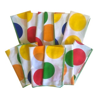 Vintage 1980's Post Modern Cotton Table Napkins - Set of 12