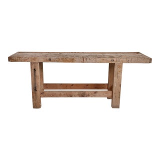 VINTAGE BELGIAN BLEACHED OAK LARGE WORK BENCH, Circa 1920