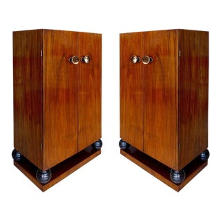 Rosewood Art Deco Cabinets with Horn Door Knobs and Ebonized Turned Supports