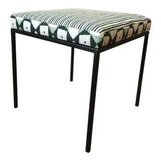 Metal Block Print Upholstered Footstool