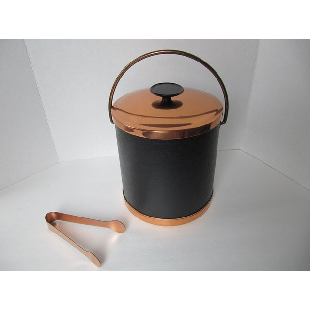 Copper & Faux Black Leather Ice Bucket & Tongs - Image 4 of 4