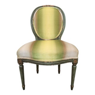 Antique Vervain-Covered French Side Chair