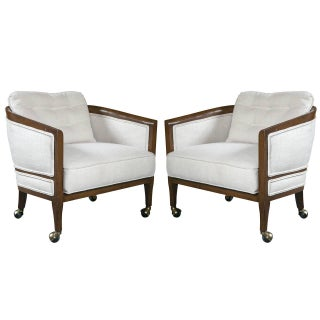 Mid-Century Club Chairs on Casters - A Pair