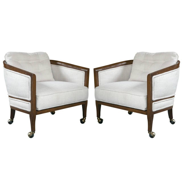 Mid Century Club Chairs On Casters A Pair Chairish
