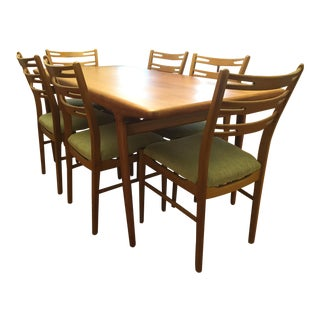 Johannes Anderson Danish Mid-Century Modern Teak Dining Table & 6 Chairs