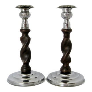 Wood & Chrome Candlesticks - Pair