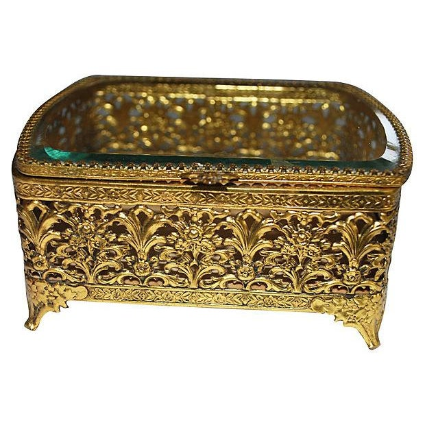 Hollywood Regency Gold Filigree Jewelry Box - Image 2 of 3