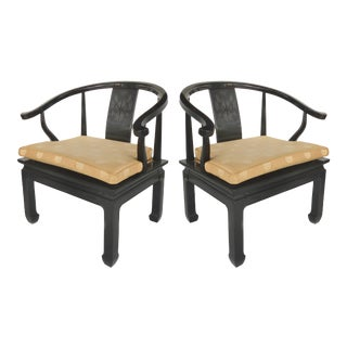 Lacquered James Mont Style Arm Chairs from Century Furniture-a Pair