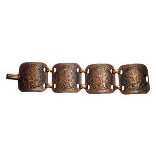 70's Chunky Modernist Copper Diety Panel Bracelet