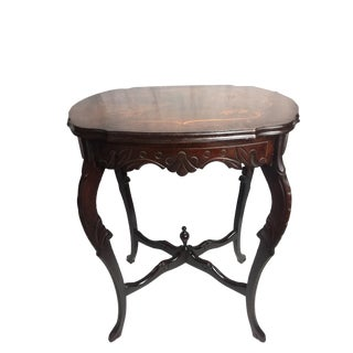 Marquetry Wood Inlay French Provincial Side Table