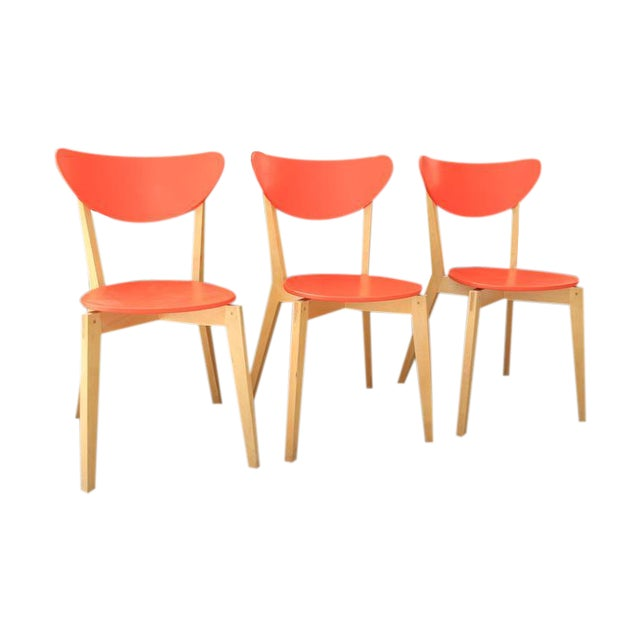 Mid Century Tangerine Chairs - Set of 3 - Image 1 of 8