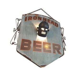 1930s Vintage Style Up Cycled Ironhead Beer Sign