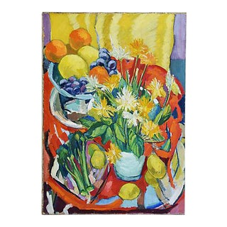 Vintage 1960s Dorothy Neal Abstract Floral Oil Painting