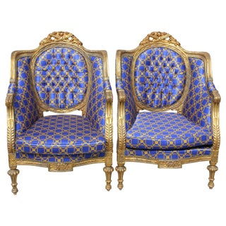 French Louis XVI Style Carved Giltwood Armchairs - A Pair