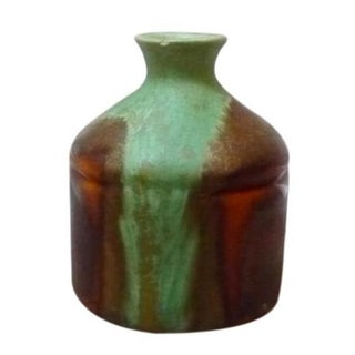 Small Green & Brown Drip Vase