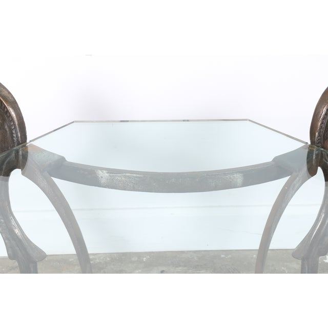 Wrought Iron Glass Top Horse Coffee Table Chairish