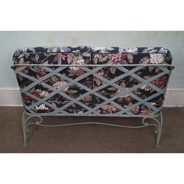 Custom Floral Cushion Iron Patio Settee - Image 4 of 10