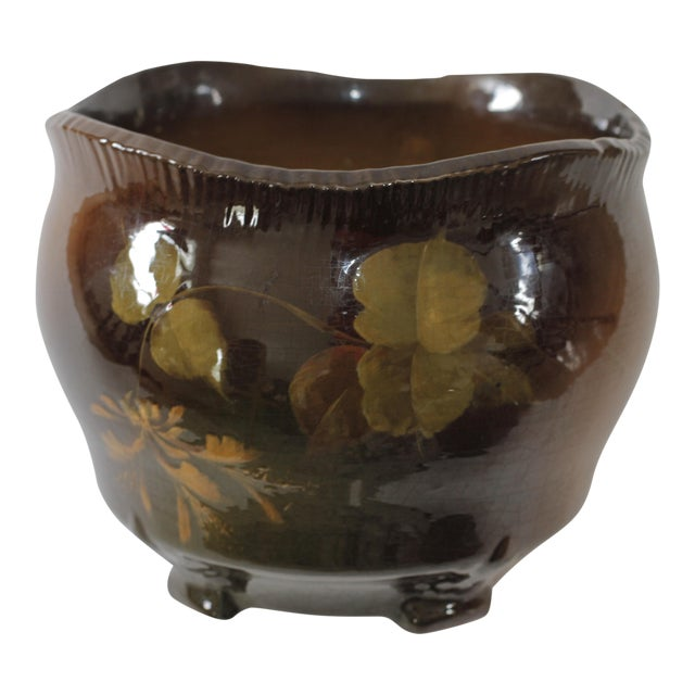 Vintage Brown Ceramic Footed Planter Cachepot Jardiniere With Leaves and Flowers - Image 1 of 11