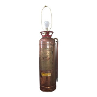 Vintage Brass Fire Extinguisher Table Lamp