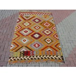 "Image of Vintage Handwoven Turkish Kilim Rug - 4'10 x 8'4"""
