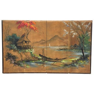 """Vintage 56"""" W Asian Hand Painted Screen Wall Art"""