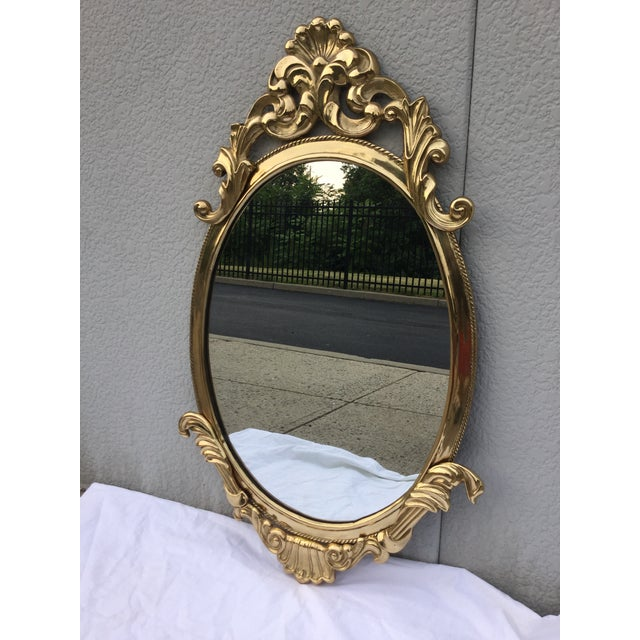 1970's French Style Brass Mirror - Image 3 of 9