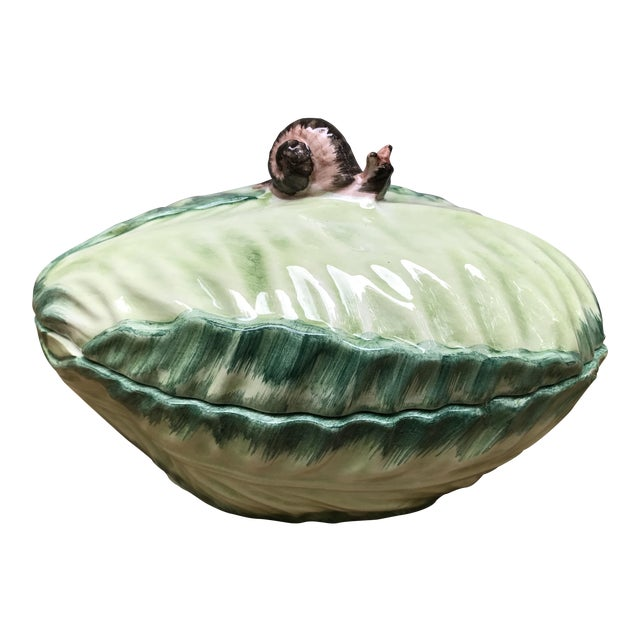 Italian Cabbage and Snail Pottery Bowl With Cover - Image 1 of 8