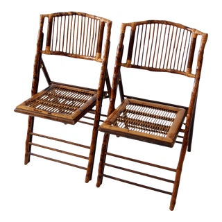 Vintage Bamboo Folding Chairs - Set of 2