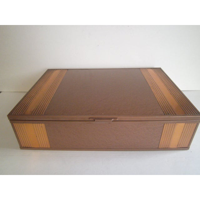 1940s Copper Enameled Metal on Wood Boxes - A Pair - Image 5 of 11