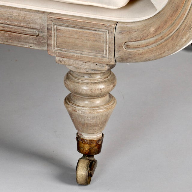 French Chaise Longue with Bleached Wood Frame - Image 9 of 11