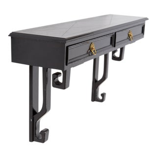 Black Wall-Mount Console with Greek Key Motif