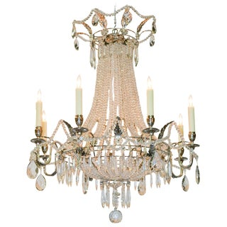 French Beaded & Silver Gilt Basket Chandelier