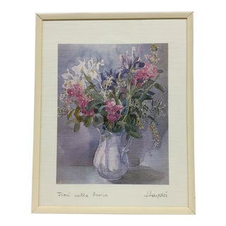 Floral Arrangment Watercolor Lithograph
