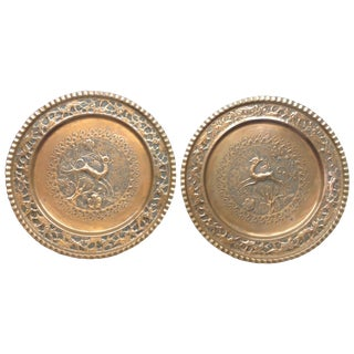 Fauzi Hand Wrought Copper Trays - A Pair