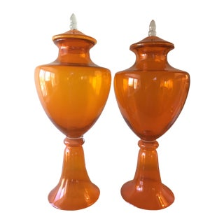 Orange Murano Jars - A Pair