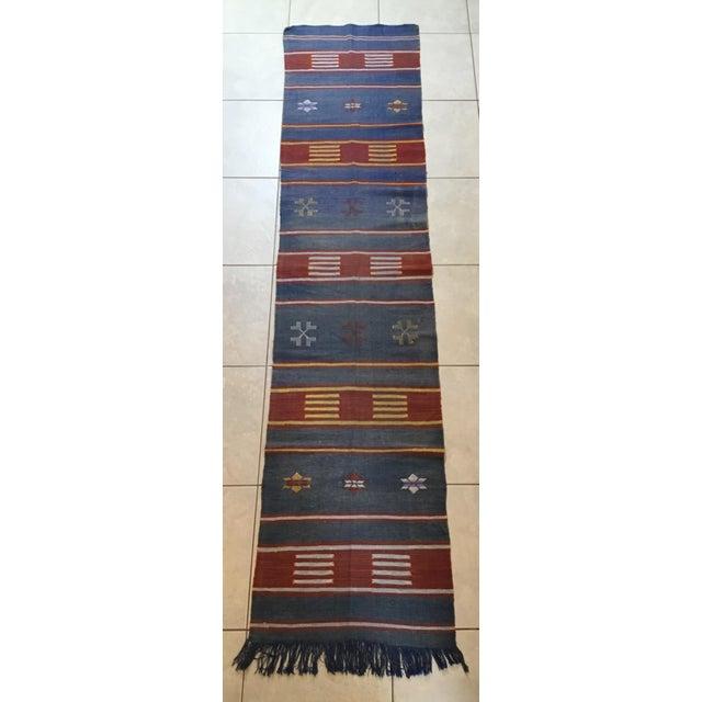 "Moroccan Cactus Silk Flat Weave Kilim Runner Rug - 25"" x 108"" - Image 5 of 11"