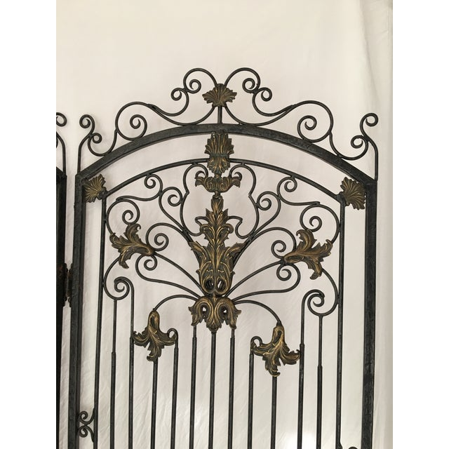 Ornate Heavy Iron Folding Screen - Image 3 of 7