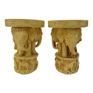 Carved Elephant Candle Holders - A Pair