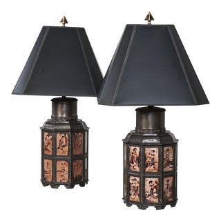 Vintage Pewter Asian Style Nonagon Table Lamps - A Pair